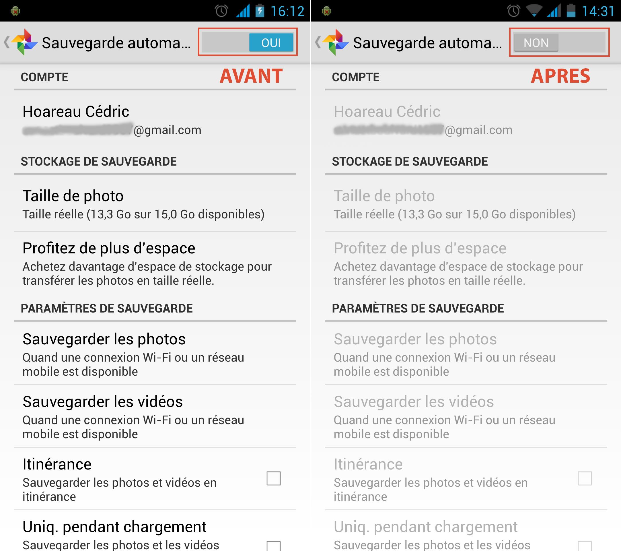 Sauvegarde automatique Google+