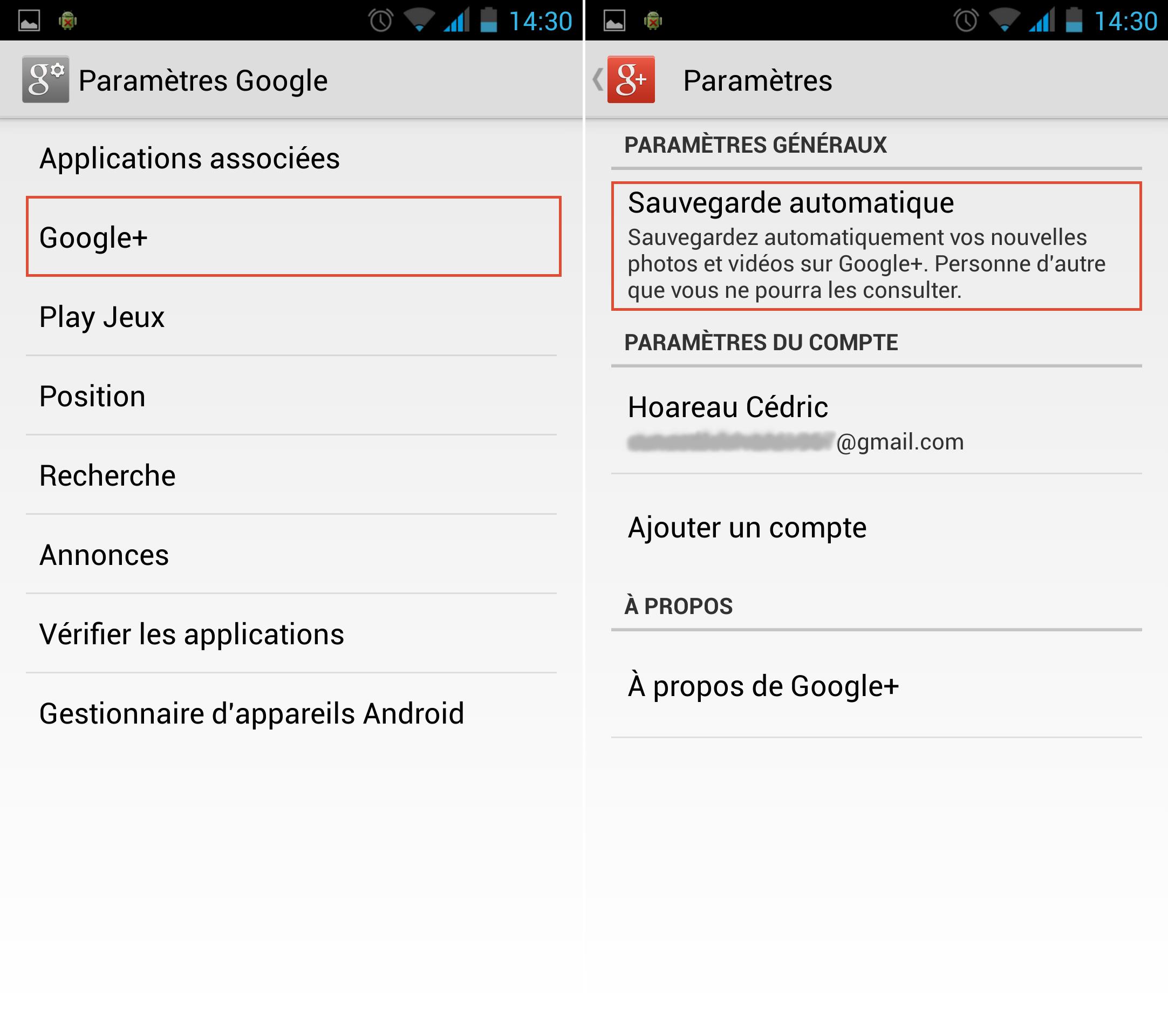 Paramètres Google+